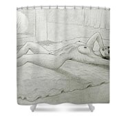 Woman And Fireplace Shower Curtain