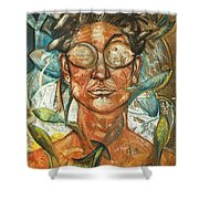 Woman And Fishes Shower Curtain