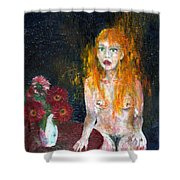 Woman And Flowers  Shower Curtain