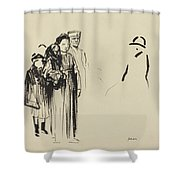 Woman And Two Children With German Soldiers Shower Curtain