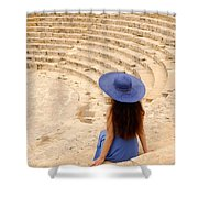 Woman At Greco-roman Theatre At Kourion Archaeological Site In C Shower Curtain