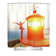 Woman At Nazare Lighthouse Shower Curtain