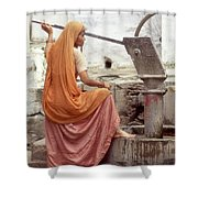 Woman At The Pump Shower Curtain