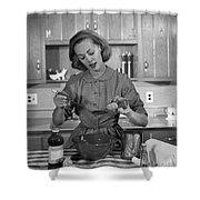 Woman Baking In Kitchen, C.1960s Shower Curtain