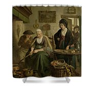 Woman Baking Pancakes Shower Curtain