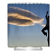 Woman Balancing On A Fence Post Shower Curtain
