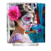 Woman Beautiful Day Of The Dead  Shower Curtain