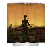 Woman Before The Rising Sun Woman Before The Setting Sun1818-20  By Caspar David Friedrich 1774 Shower Curtain