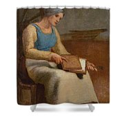 Woman Carding Wool Shower Curtain