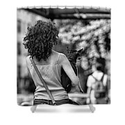 Woman Carry Dog Nyc Blk Wht  Shower Curtain