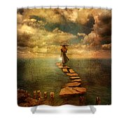 Woman Crossing The Sea On Stepping Stones Shower Curtain by Jill Battaglia