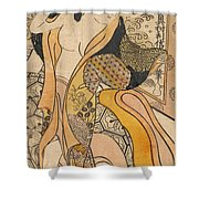 Woman Disrobing Shower Curtain