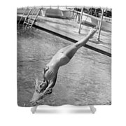 Woman Doing A Back Dive Shower Curtain