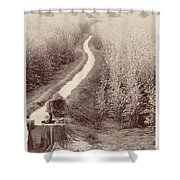 Woman Doing Laundry In Canal- Sepia Shower Curtain