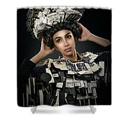 Woman Dressed In Price Tag Shower Curtain