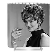 Woman Drinking Champagne, C.1960s Shower Curtain