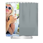 Woman Drinking Sangria Shower Curtain