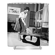 Woman Dusting, C.1950-60s Shower Curtain
