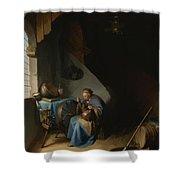 Woman Eating Porridge Shower Curtain