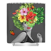 Woman Floral  Shower Curtain