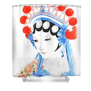 Woman From Chinese Opera With Tattoos -- The Original -- Asian Woman Portrait Shower Curtain