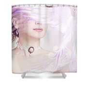 Woman Holding A Glowing Magical Bird In Her Hand Shower Curtain