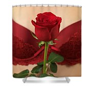 Woman Holding A Red Rose Shower Curtain