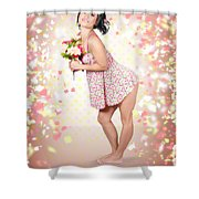 Woman Holding Flowers In Hands. Spring Celebration Shower Curtain