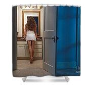 Woman In A Bathroom Shower Curtain