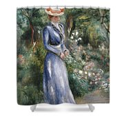 Woman In A Blue Dress Standing In The Garden At Saint-cloud Shower Curtain by Pierre Auguste Renoir