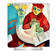 Woman In A Cafe Shower Curtain