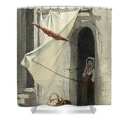 Woman In A Doorway. Rome Shower Curtain
