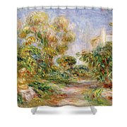 Woman In A Landscape Shower Curtain