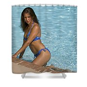 Woman In A Pool. Shower Curtain