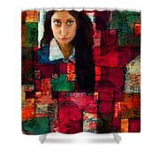 Woman In Abstract 454 Shower Curtain