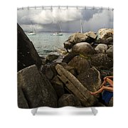Woman In Bathing Suit Sitting Shower Curtain