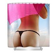 Woman In Bikini With A Pink Umbrella Shower Curtain