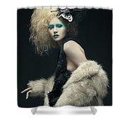 Woman In Black Avant-garde Attire With Butterfly Headdress Shower Curtain