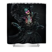 Woman In Black Gown And Headdress In Body Paint Shower Curtain