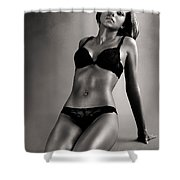Woman In Black Lingerie Shower Curtain