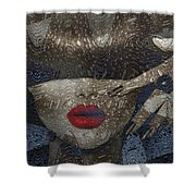Woman In Blue Red Passion Shower Curtain