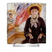Woman In Boat With Canoeist Shower Curtain