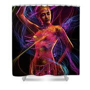 Woman In Colorful Body Paint With Light Streaks Shower Curtain