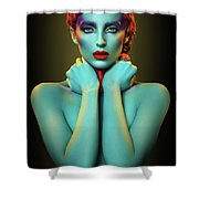Woman In Cyan Body Paint With Curly Hairstyle Shower Curtain