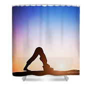Woman In Dolphin Yoga Pose Meditating At Sunset Shower Curtain
