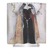 Woman In Evening Clothes And Cape Shower Curtain