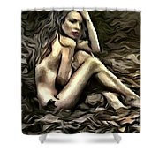 Woman  In Fall #0074 Shower Curtain