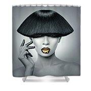 Woman In Fashionable Bangs Shower Curtain