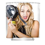Woman In Fear Holding Gas Mask On White Background Shower Curtain by Jorgo Photography - Wall Art Gallery