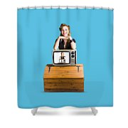 Woman  In Front Of Tv Camera Shower Curtain by Jorgo Photography - Wall Art Gallery